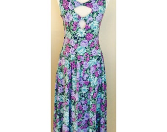 80s cut-out back drop-waist floral sundress