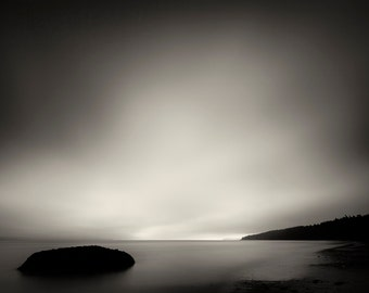 Beach Photography, Sunset, Low Tide, Long Exposure, Landscape Photography, Fine Art Black and White Photography, Wall Art, Home Decor