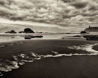 Landscape Photography, Black and White, Beach, Ocean, Fine Art Photography, Monochrome, Nature, Wall Art, Wall Decor, Home Decor, Zen