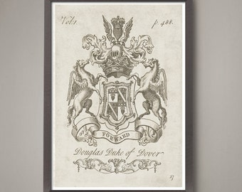 18 x24 inch Heraldry coat of arms art print (1).  Pick out your choice from 5 different Classic 18th century family crests!