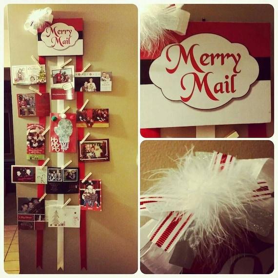 Christmas Card Wall Decor : Christmas card display merry mail holder