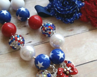 Fourth of July Headband Set, Baby Headband, 4th of July Baby Chunky Necklace Set,  Newborn 4th of July Headband,  Fourth of July Baby