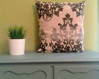 Grey and black pillow cover with zip