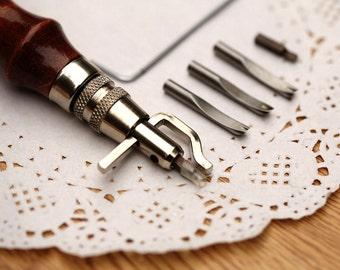 7 in 1 Leathercraft Groove Tool-Adjustable Leather Edge Stitching Groover-Leather Groove Tool-Leathercraft DIY Tool