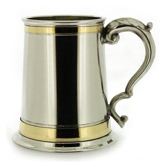 Personalised Pewter Tankard With Brass Banding Wedding