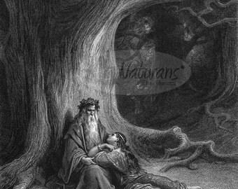 Merlin and Vivien, Gustave Dorè, Print Reproduction Engraving Druid Pagan Celtic