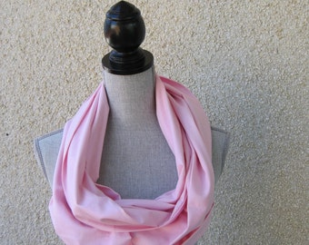 Fabric scarf, Infinity scarf, tube scarf, eternity scarf, loop scarf, long scarf in pink cotton fabric