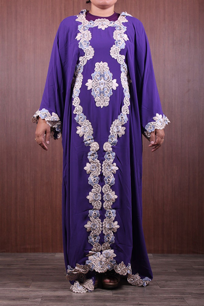 Moroccan Handmade Caftan Colorful Embroidery Dubai Abaya Hoodie Maxi Jalabiya Sheer Purple Chiffon Fit Up To Women Plus Size Wedding Dress