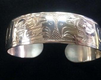 "Sterling Silver Tlingit Bracelet ""Eagle"" by B. Chilton"