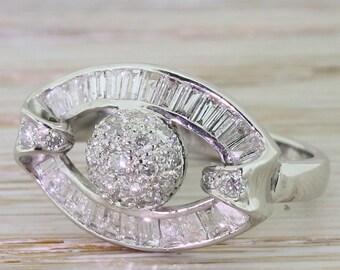 "Mid Century 1.00 Carat Diamond ""Disco Ball"" Ring, circa 1970"