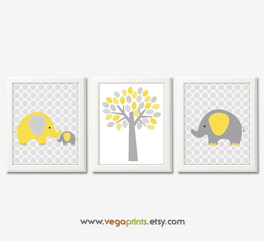 Yellow and grey elephant nursery art print 8x10 unframed for Chambre 8x10