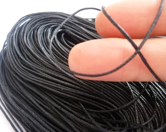 80M Black Waxed Cotton Cord 1mm FD95
