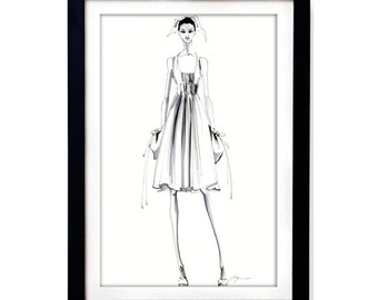 Black and white ink drawing on white paper / Fashion illustration print of original sketch