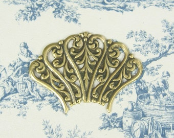 Brass Fan Ornate Open Work Stamping Antiqued Gold Ox Plated Brass 6-136-GO