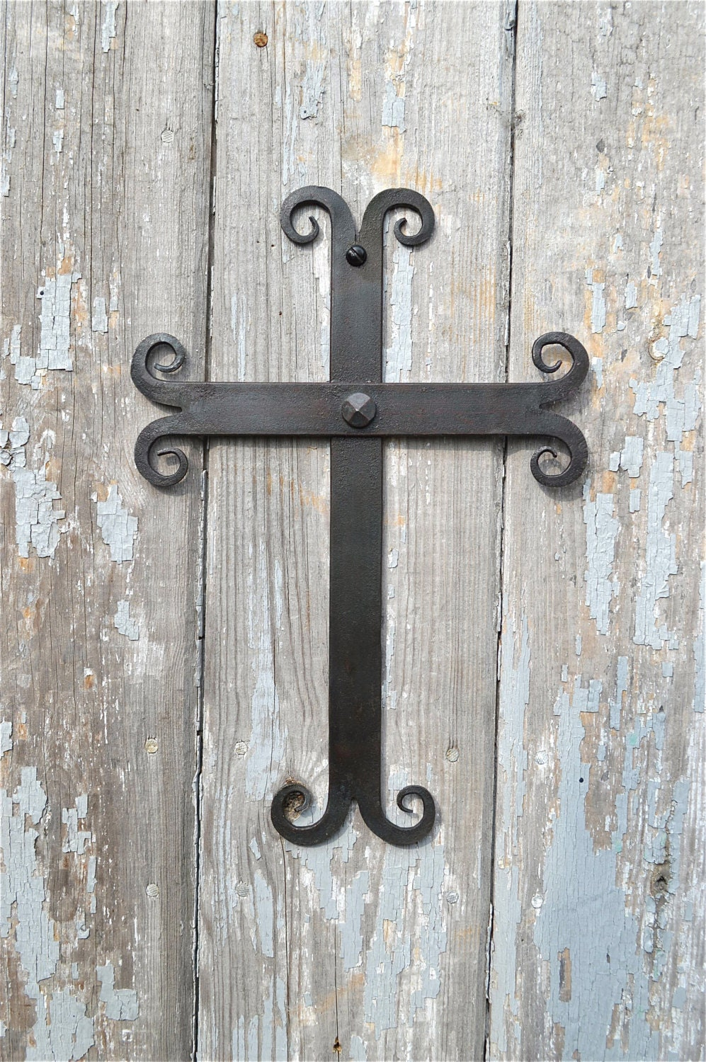 Hand Forged Wrought Iron Medieval Gothic Wall Cross Crucifix