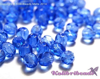 Fire polished Czech Glass Beads 4 mm - Sapphire