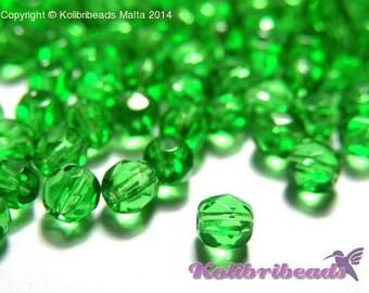 Fire polished Czech Glass Beads 4 mm - Chrysolite