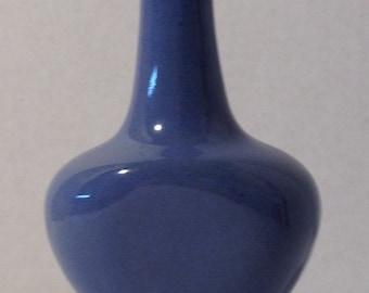 Tiny Blue Bud Vase by Zanesville Stoneware Company 1950's