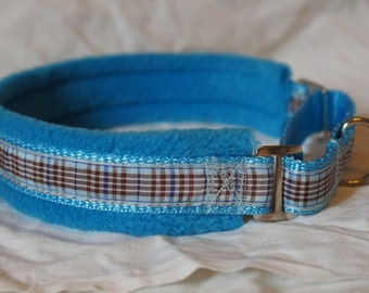 Fleece Lined Martingale Dog Collar - Blueberry Check/Tartan - 50mm width