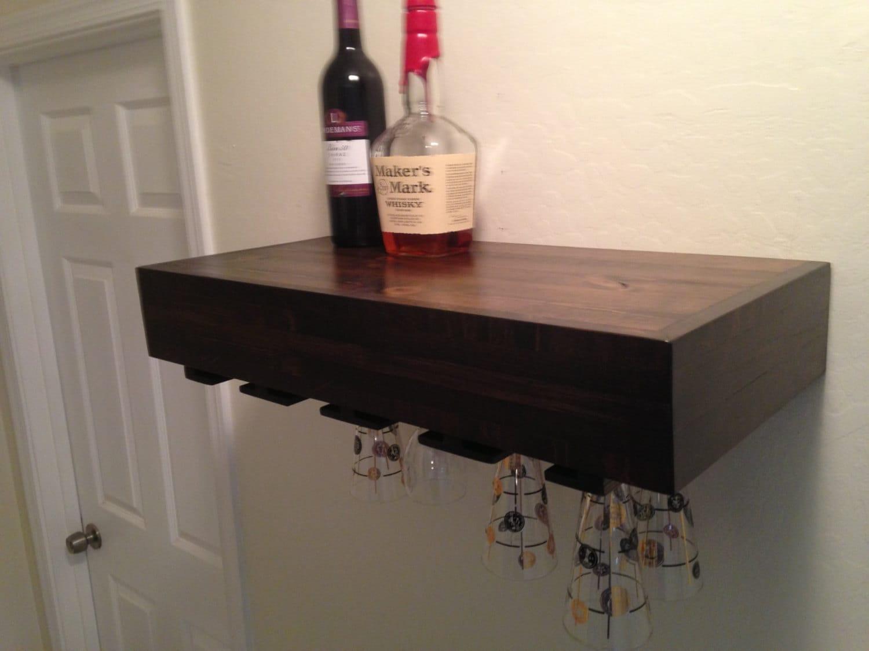 Wine Glass Holderfloating Shelf By Azdesertwood On Etsy