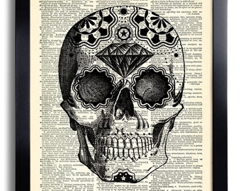 Sugar Skull Art Print, Day of the Dead Art, Mexican Skull Poster, Gothic Skull Artwork, Anatomy Wall Decor, Wall Decal,Tattoo Art Decor 393