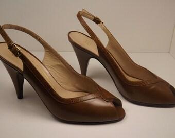 Vintage BRUNO MAGLI sling back open toe high heels Like NEW!!