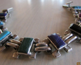 Heavy Sterling Silver Link Bracelet with Stones  Mexico