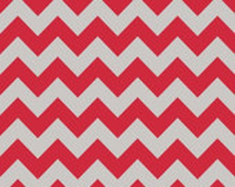 "Riley Blake Red Gray Chevron Medium Chevron 44"" Wide"