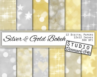Gold and Silver Bokeh Digital Paper -  Commercial Use Silver and Gold Backgrounds - Sparkle Lights Paper - Instant Download Bokeh Texture