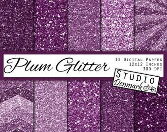 Plum Glitter Digital Paper - Dark Purple Sparkle Chunky Glitter Chevron - Plum Metallic Shine - 10 Papers - 12in x 12in - Instant Download