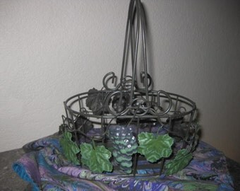 Vintage Wrought Iron Basket with Grapes and Leaves!
