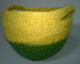 felted bowl yellow-green
