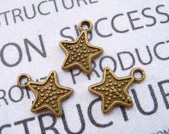30 pcs of Antique Bronze Star Charms 12mm