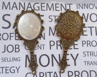 5pcs Antique Bronze mirror Charms tibetan style mirror pendant vintage mirror 43x70mm