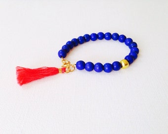 Beaded bracelet // Tassel bracelet // Boho Bracelet // Cobalt Blue, Coral, and Gold bracelet