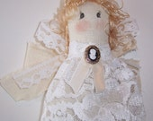 Christmas Angel, Collectible Victorian, Country Cloth and Lace Ornament