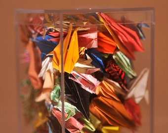 Small plastic box full of cranes