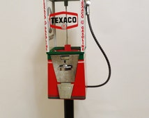 Texaco gas vintage candy machine nut gumball dispenser man cave decor petro collectibles vending machine + stand