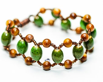 Green & Brown Beaded Bracelet