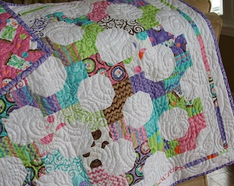 Pink and Purple Crib Quilt- 'Snowball Fight'