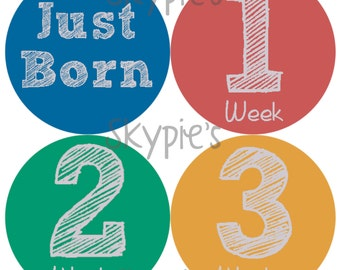 INSTANT DOWNLOAD DIY Monthly Stickers for Baby Monthly Milestone Stickers Month Stickers Baby Shower Gift - Back to Backs Boys