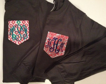 Monogrammed Pocket Long Sleeve Crew Neck