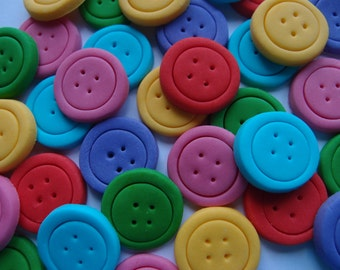 Fondant Cupcake Toppers - Buttons - Edible Buttons Lalaloopsy Birthday Party Cupcake Cake Toppers