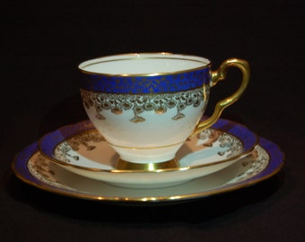Antique 1950's Royal Stafford Bone China Tea Cup, Saucer, and Dessert Plate with Gold Leafing - 3 Piece Set