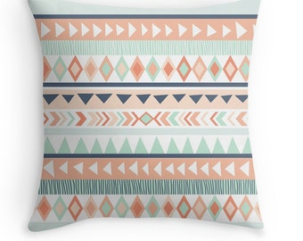 Tribal Pillow Cover - Mint Pillow - Coral - Nursery Decor - Baby Gift - Baby Shower