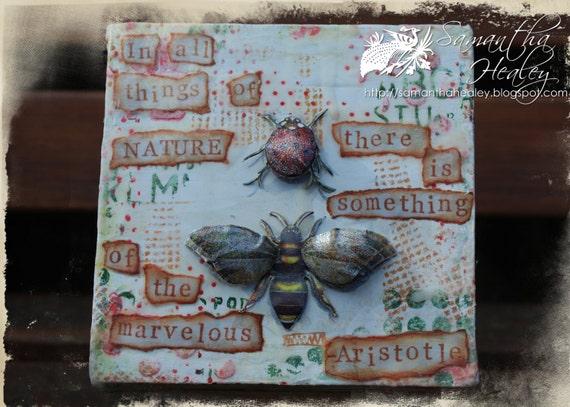 Mixed media mini canvas - 'Marvellous Nature'
