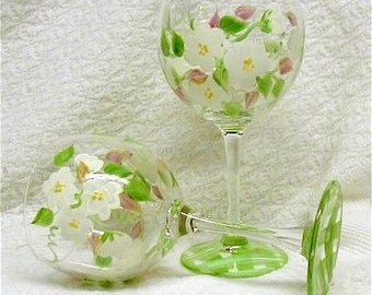 Hand Painted Hydrangea Wine Glasses