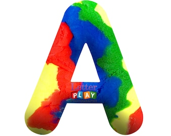 Digital Alphabet Letters with Play Doh, Rainbow pattern
