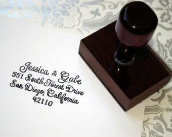 Custom Hand Calligraphy Rubber Address Stamp - Wooden Handle