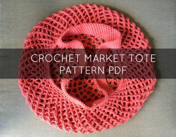 Crochet Market Tote Pattern, Farmers Market Pattern, Crochet Mesh Bag ...